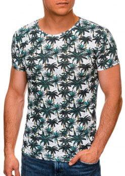 Balti vyriški marškinėliai su palmėmis internetu pigiau S1453 19117-1