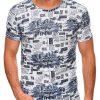 Balti vyriški marškinėliai su užrašais internetu pigiau S1454 19118-1