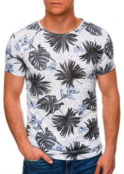 Balti-mėlyni gėlėti vyriški marškinėliai internetu pigiau S1283 19123-2