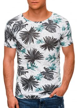 Balti-žali gėlėti vyriški marškinėliai internetu pigiau S1283 19124-2