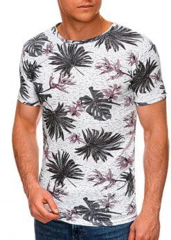Balti-violetiniai gėlėti vyriški marškinėliai internetu pigiau S1283 19125-3