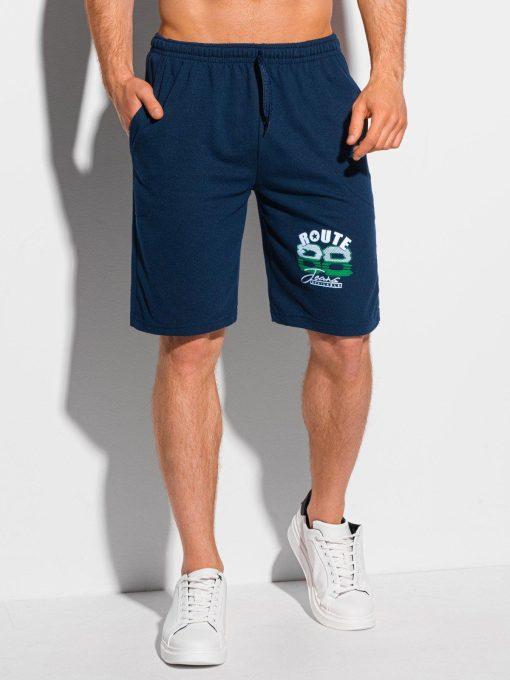 Tamsiai mėlyni sportiniai šortai vyrams internetu pigiau W329 19131-1