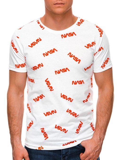 Balti vyriški marškinėliai su užrašais internetu pigiau S1391 19150-1