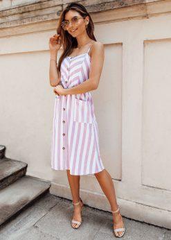 Rožinė vasarinė moteriška suknelė internetu pigiau DLR013 19159-1