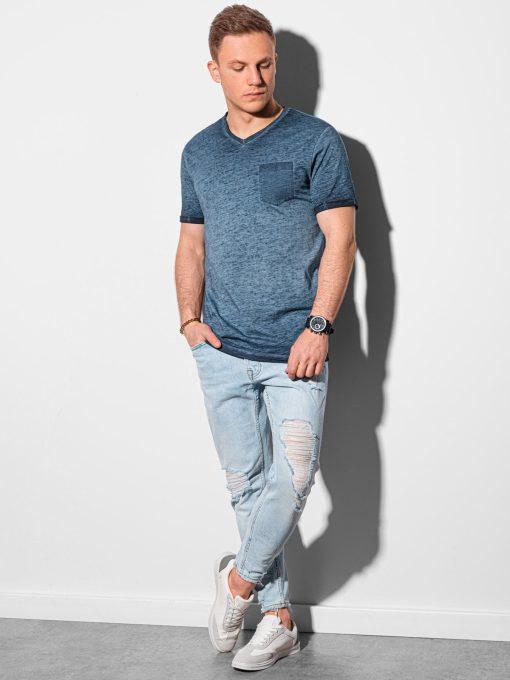 Tamsiai mėlyni vyriški marškinėliai internetu pigiau S1388 19289-1