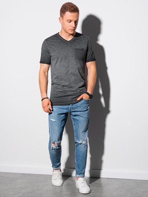 Juodi vyriški marškinėliai internetu pigiau S1388 19292-1