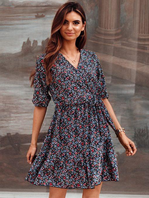 Juoda vasarinė moteriška suknelė internetu pigiau DLR016 19335-1