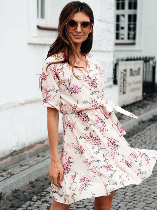 Rusva vasarinė gėlėta moteriška suknelė internetu pigiau DLR017 19336-4
