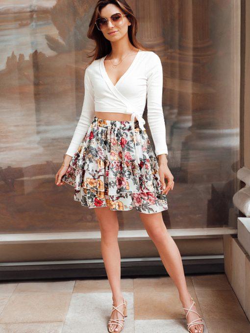 Baltas moteriskas sijonas su raukinukais internetu pigiau GLR010 19358-2