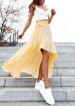 Geltonas vasarinis moteriškas sijonas internetu pigiau GLR008 19363-1