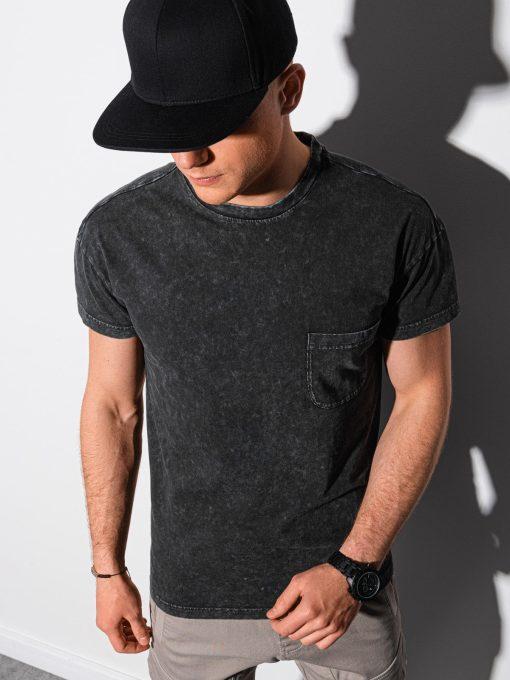Juodi vyriški marškinėliai su kišenėle internetu pigiau S1375 19407-1