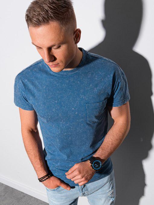 Mėlyni vyriški marškinėliai su kišenėle internetu pigiau S1375 19408-1
