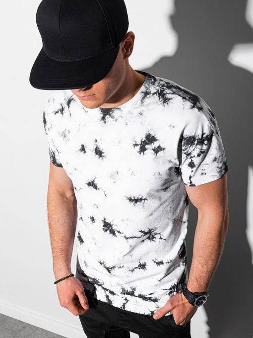 Stilingi juodi-balti vyriški marškinėliai internetu pigiau S1373 19413-1