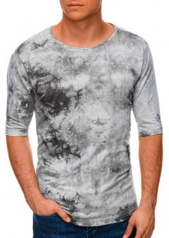 Pilki vyriški marškinėliai su prailgintomis rankovėmis internetu pigiau S1339 19461-1