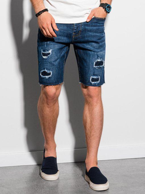 Mėlyni plėšyti džinsiniai šortai vyrams internetu pigiau W309 19476-1