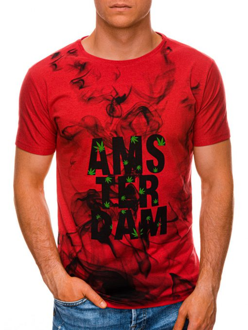 Raudoni vyriški marškinėliai su užrašu internetu pigiau S1459 19496-2