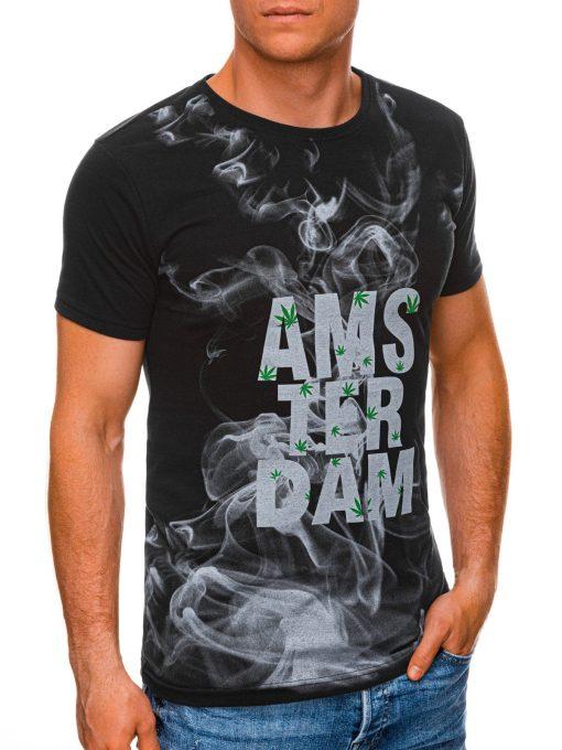 Juodi vyriški marškinėliai su užrašu internetu pigiau S1459 19498-4