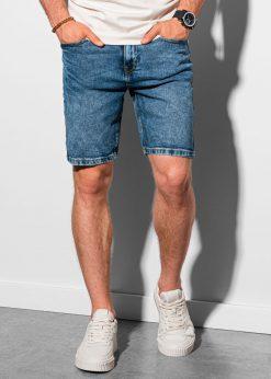 Mėlyni džinsiniai šortai vyrams internetu pigiau W308 19502-1