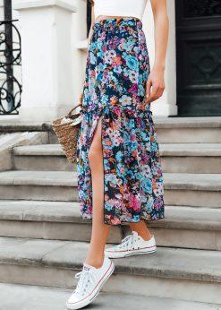 Tamsiai mėlynas vasarinis moteriškas sijonas internetu pigiau GLR013 19523-1