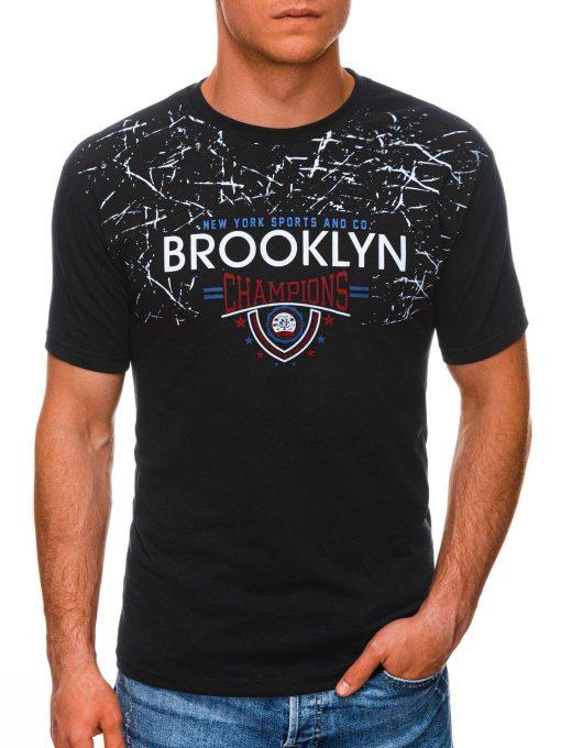 Juodi vyriški marškinėliai su užrašu internetu pigiau S1457 19553-1