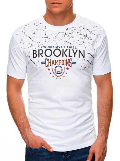 Balti vyriški marškinėliai su užrašu internetu pigiau S1457 19554-1