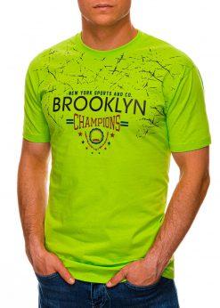 Žali vyriški marškinėliai su užrašu internetu pigiau S1457 19555-1