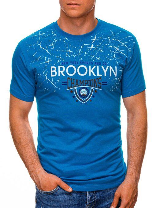 Žydri vyriški marškinėliai su užrašu internetu pigiau S1457 19556-1