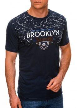 Sodriai mėlyni vyriški marškinėliai su užrašu internetu pigiau S1457 19557-1