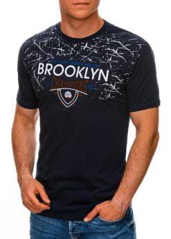 Tamsiai mėlyni vyriški marškinėliai su užrašu internetu pigiau S1457 19558-1