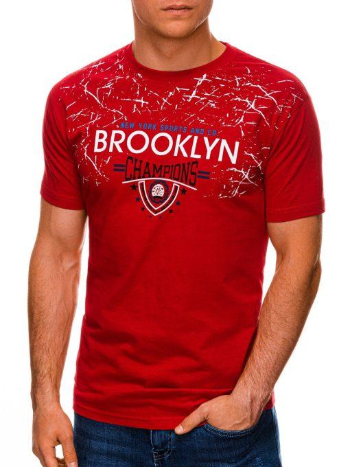 Raudoni vyriški marškinėliai su užrašu internetu pigiau S1457 19561-2