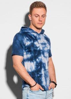 Tamsiai mėlyni vyriški marškinėliai su gobtuvu internetu pigiau S1220 19462-1
