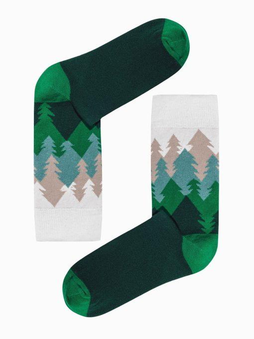 Žalios kokybiškos vyriškos kojinės su paveiksliukais internetu U149 19588-1