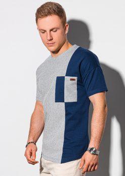 Tamsiai mėlyni vyriški marškinėliai su kišenėle internetu pigiau S1455 19624-1