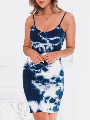 Tamsiai mėlyna vasarinė moteriška suknelė internetu pigiau DLR021 19658-1