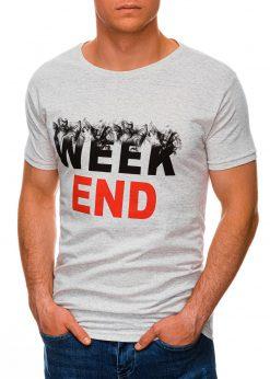 Pilki vyriški marškinėliai su užrašu internetu pigiau S1458 19663-4