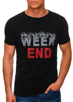 Juodi vyriški marškinėliai su užrašu internetu pigiau S1458 19664-2