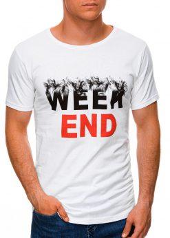 Balti vyriški marškinėliai su užrašu internetu pigiau S1458 19665-1