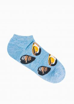 Šviesiai mėlynos trumpos vyriškos kojinės su paveiksliukais internetu U160 19717-1