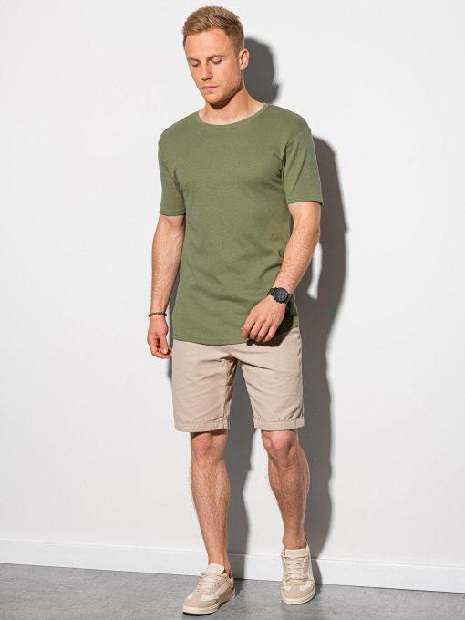 Alyvuogių vyriški marškinėliai su prailginta nugara internetu pigiau S1387 19723-1