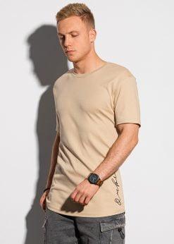 Rusvi vyriški marškinėliai su prailginta nugara internetu pigiau S1387 19725-1