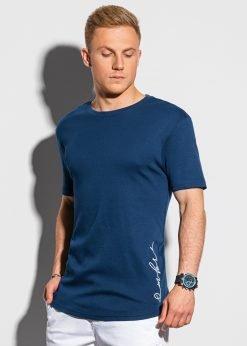 Tamsiai mėlyni vyriški marškinėliai su prailginta nugara internetu pigiau S1387 19726-1