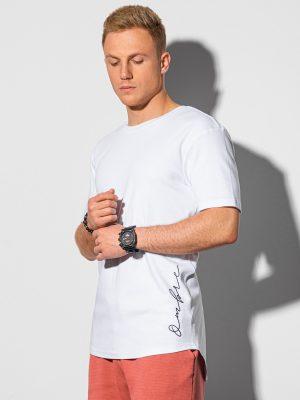 Balti vyriški marškinėliai su prailginta nugara internetu pigiau S1387 197327-1