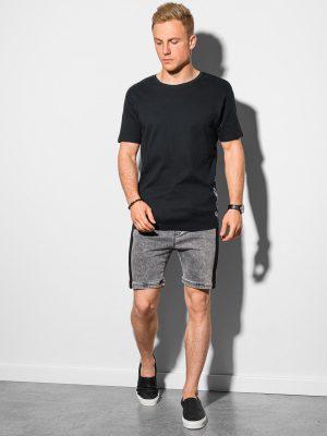 Juodi vyriški marškinėliai su prailginta nugara internetu pigiau S1387 19728-1