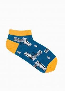 Tamsiai mėlynos trumpos vyriškos kojinės su paveiksliukais internetu U173 19757-1
