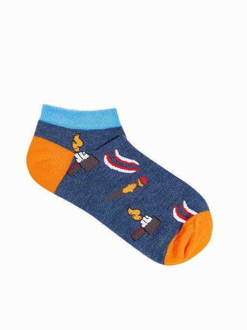 Tamsiai mėlynos trumpos vyriškos kojinės su paveiksliukais internetu U174 19759-1