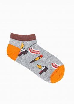 Pilkos trumpos vyriškos kojinės su paveiksliukais internetu U174 19760-1