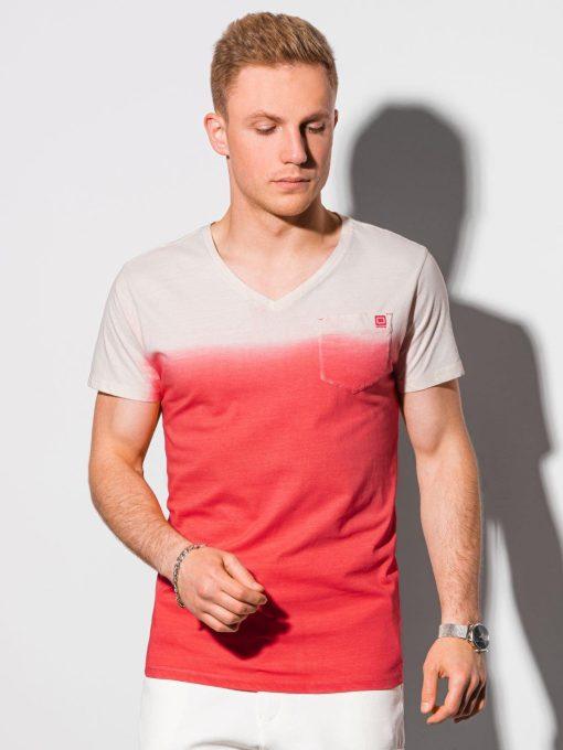 Raudoni vyriški marškinėliai su kišenėle internetu pigiau S1380 19785-1