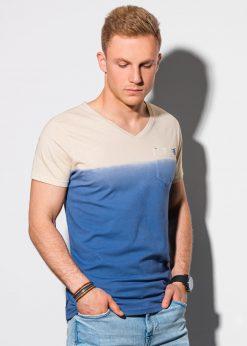 Tamsiai mėlyni vyriški marškinėliai su kišenėle internetu pigiau S1380 19786-1