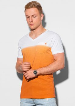 Oranžiniai vyriški marškinėliai su kišenėle internetu pigiau S1380 19788-1