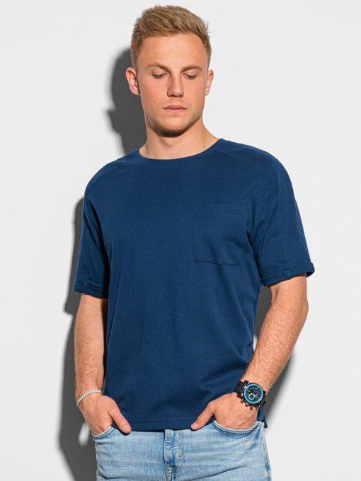 Tamsiai mėlyni vyriški marškinėliai su kišenėle internetu pigiau S1386 19792-1